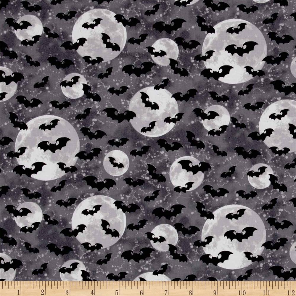 Ghosts & Ghouls Bats & Moon Dark Green
