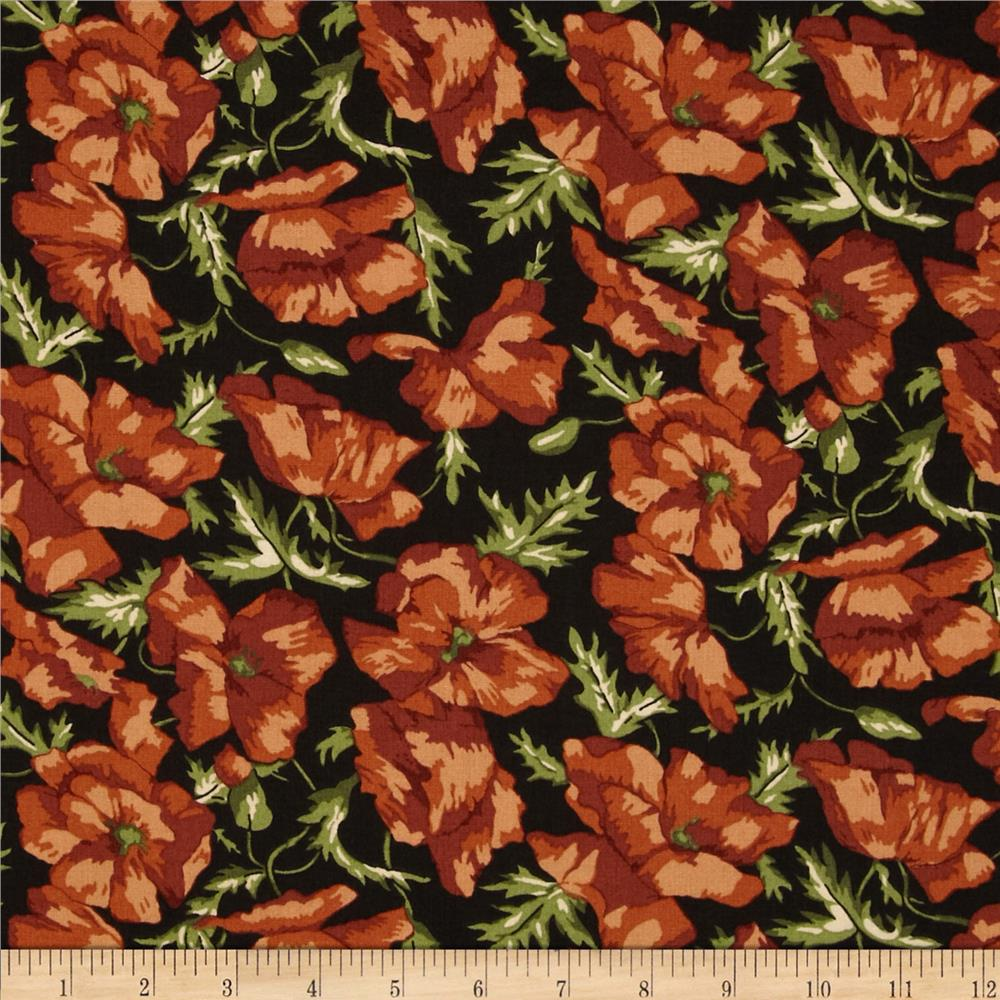 Thimbleberries Block Party Large Tossed Flowers Black