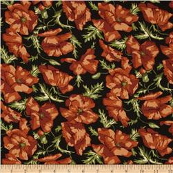 Thimbleberries Block Party Large Tossed Flowers Black Fabric