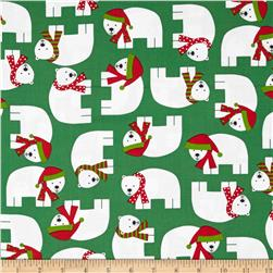Robert Kaufman Jingle Polar Bears Green