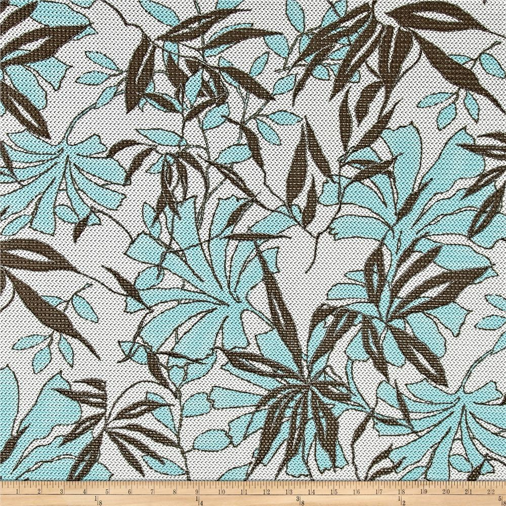 Swiss Designer Polyester Mesh Floral White/Aqua/Grey Fabric