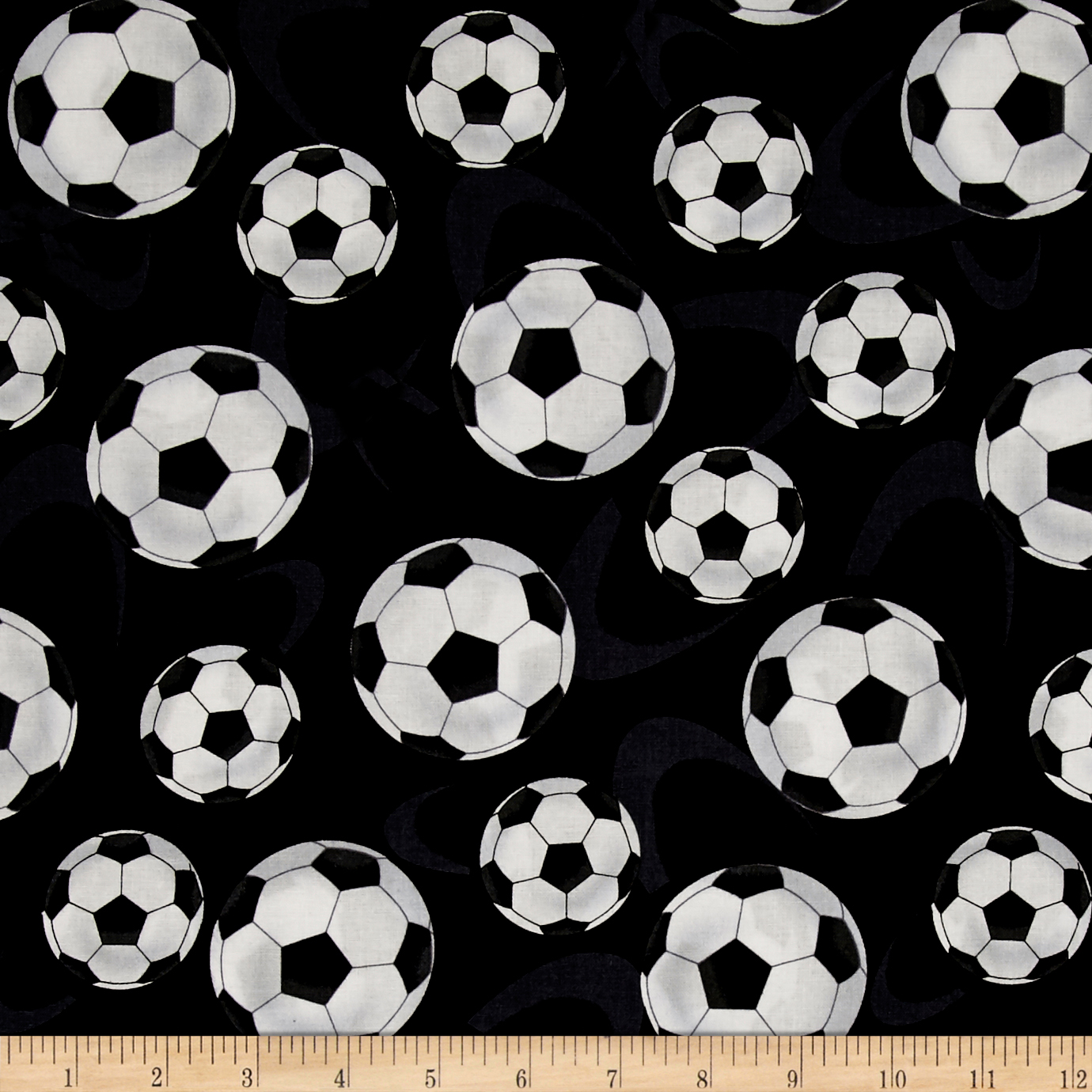 Score! Large Tossed Soccer Balls Black Fabric by Henry Glass in USA