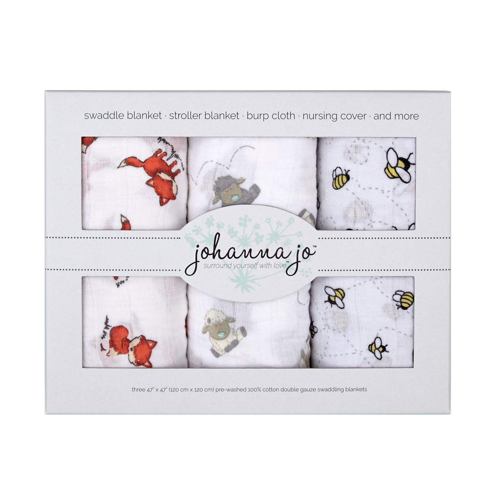 Embrace Double Gauze Swaddle 3 Pack Lambie by Shannon in USA