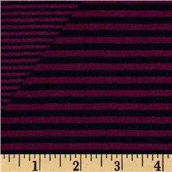 Double Face Stripe Knit Plum/Navy Fabric