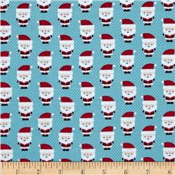 Riley Blake Santa Express Flannel Santa Claus Blue