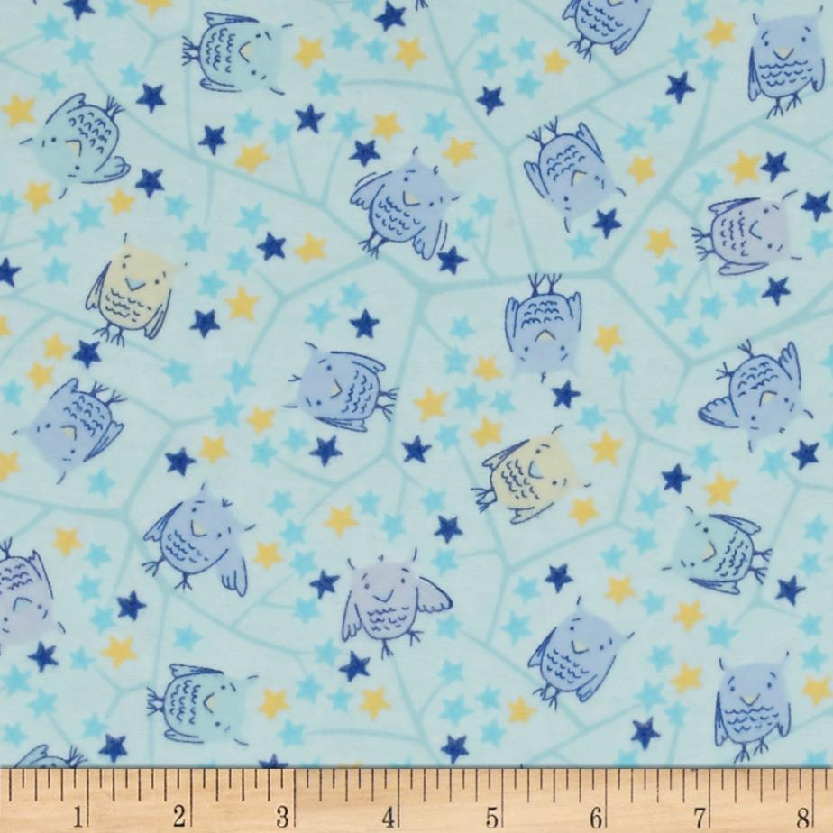 Naptime nursery flannel baby owls blue discount designer for Cheap baby fabric
