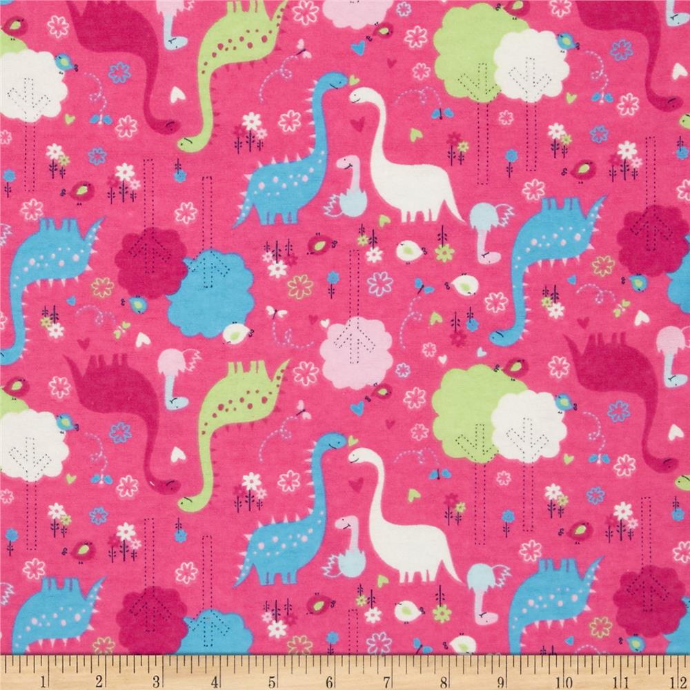 Flannel dinosaurs fuchsia discount designer fabric for Dinosaur fabric