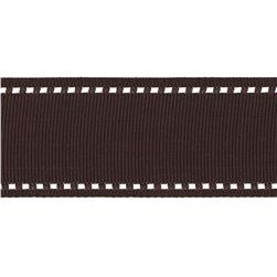 "May Arts 1 1/2"" Grosgrain Stitched Edge Ribbon Spool Brown/Ivory"
