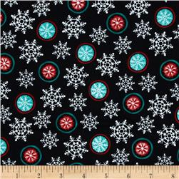 Hello Snow Flannel Snowflake Black