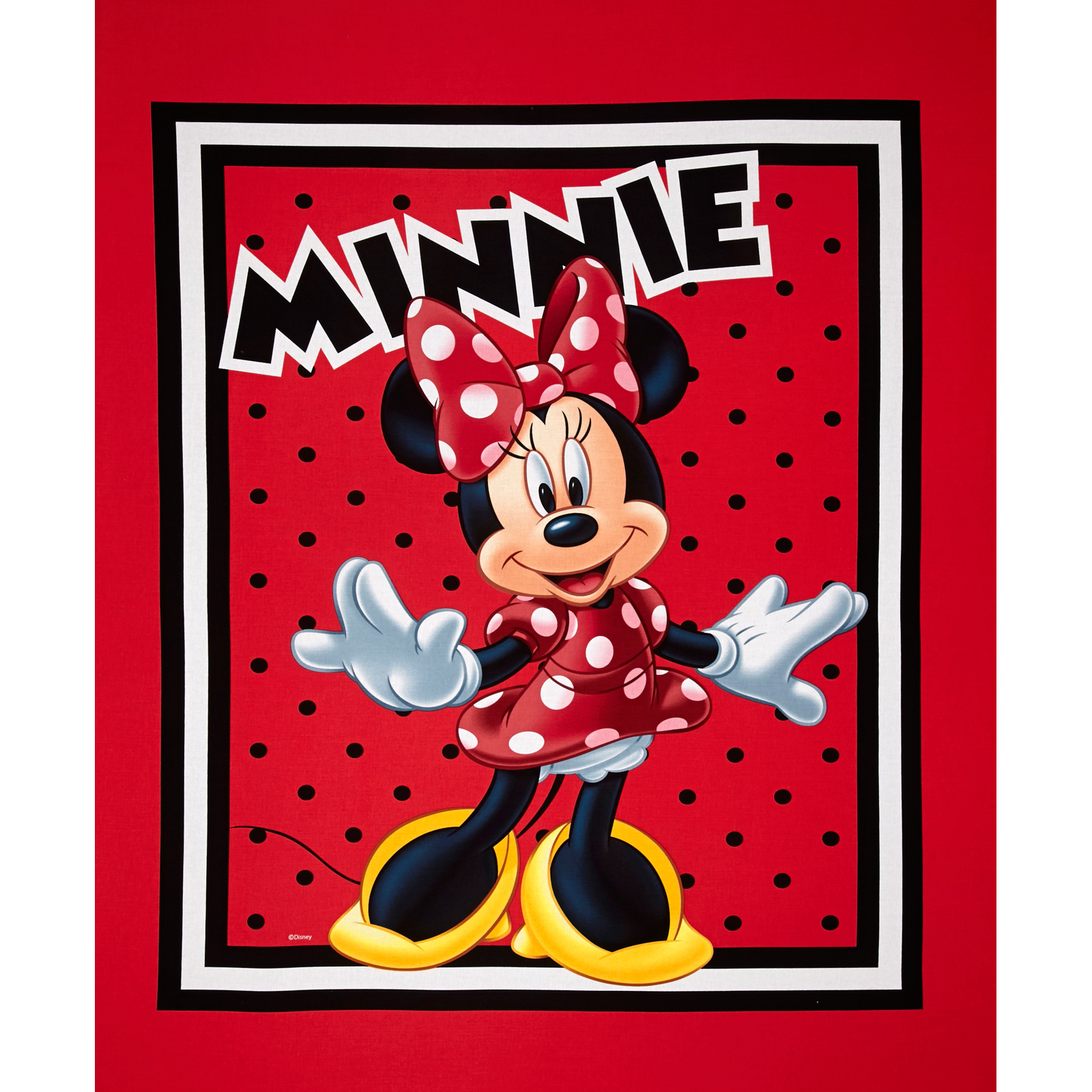 Disney Minnie Mouse Loves to Shop Panel Red