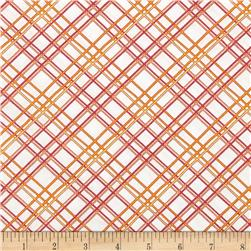 Gramercy Hudson Plaid White/Pink Fabric