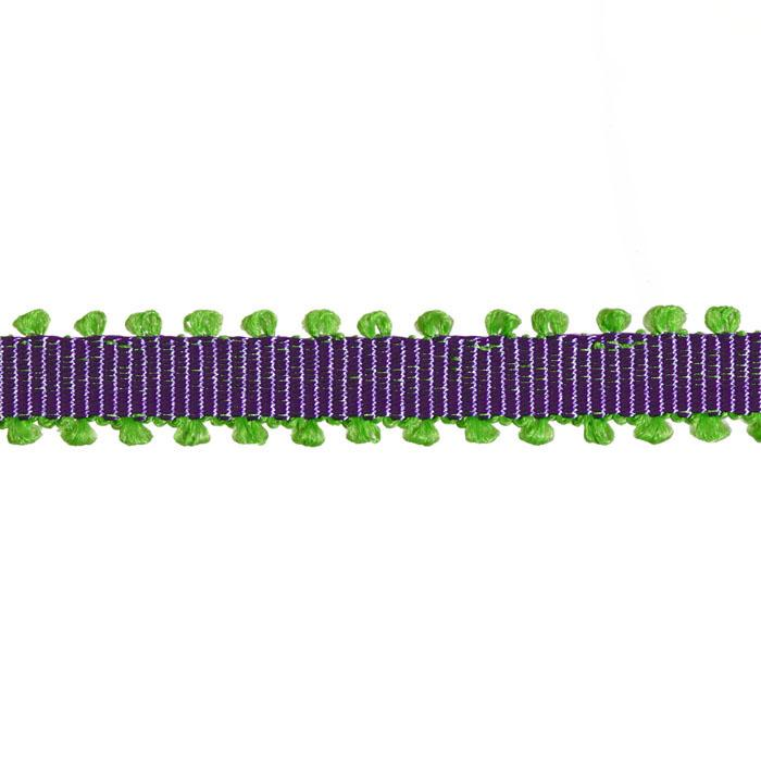 "1/4"" Grosgrain Picot Edge Ribbon Purple/Parrot Green"