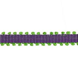 1/4'' Grosgrain Picot Edge Ribbon Purple/Parrot Green
