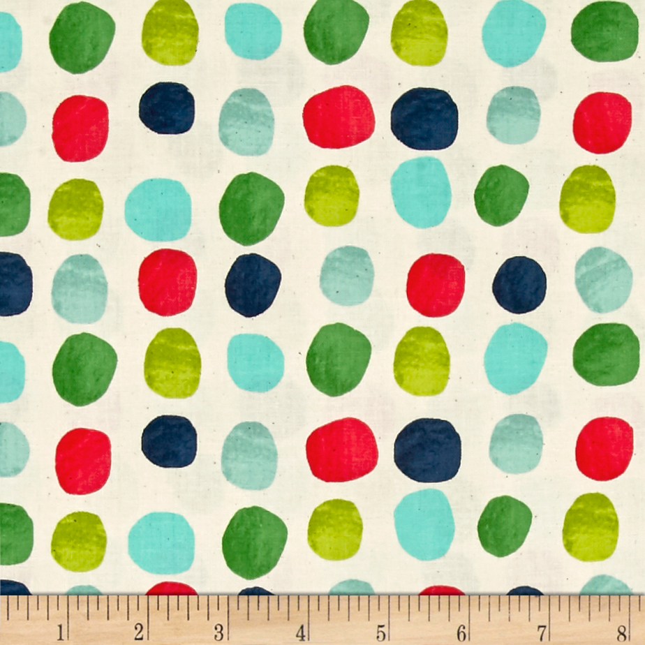 Cotton + Steel Noel Painted Dots Blue Fabric