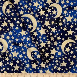 Michael Miller Moon & Stars Metallic Moon & Stars Midnight