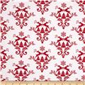 Winter Essentials III Damask Red on White