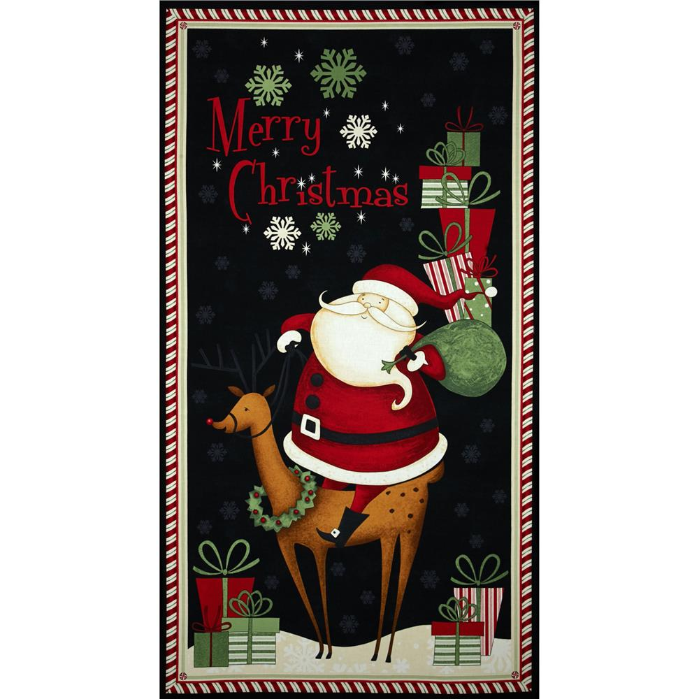 Debbie Mumm Peppermint Santas Santa Panel Multi