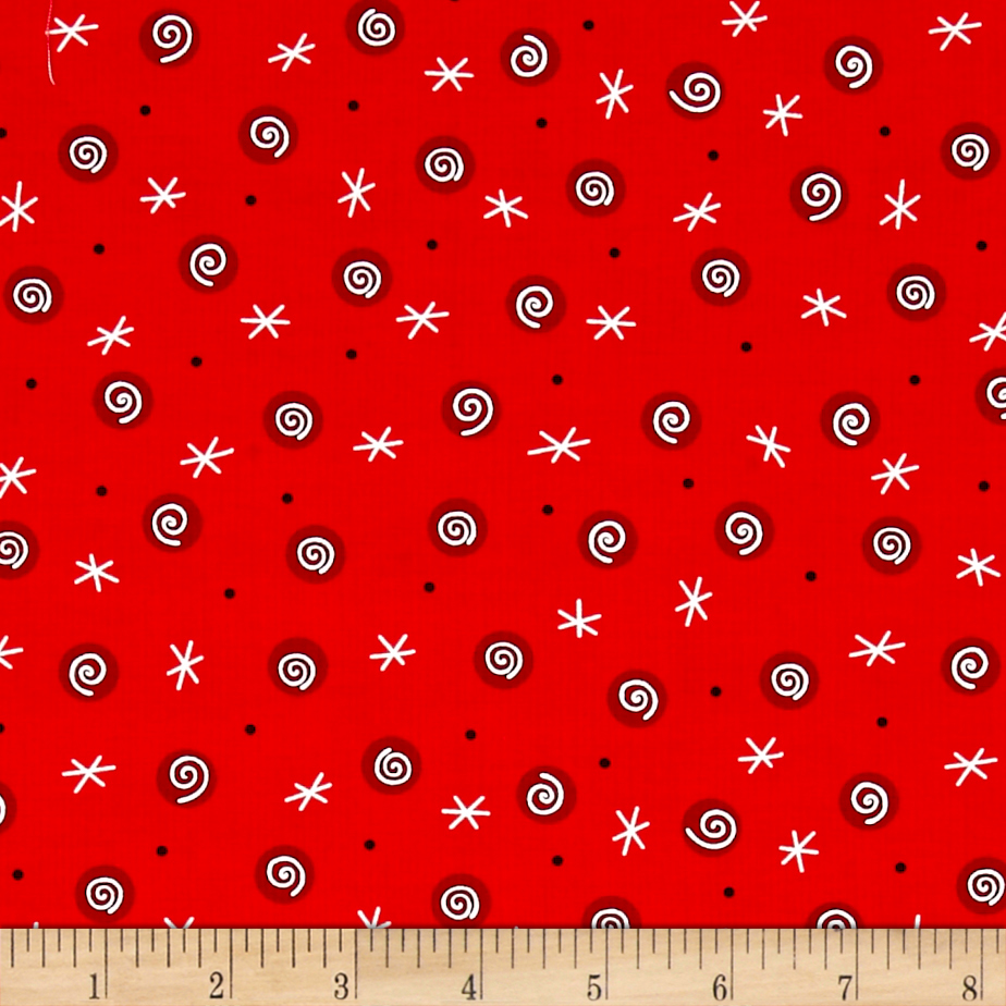 Tinsel Toes Swirl Dot Red Fabric by Henry Glass in USA