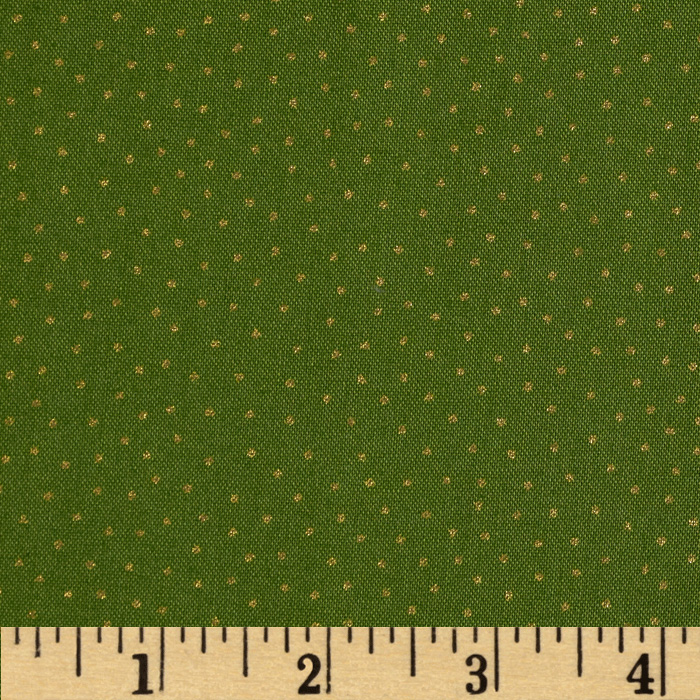 Christmas 2014 Metallic Coordinates Spot Dot Green Fabric