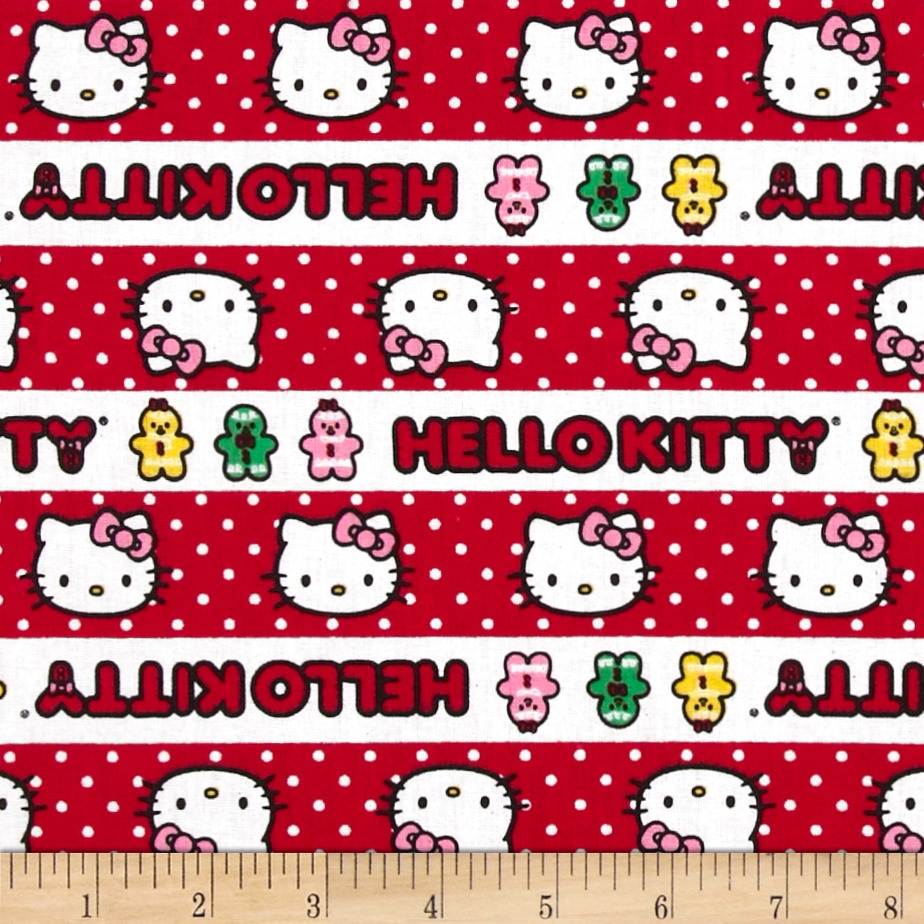 Hello Kitty Holiday Gingerbread Stripe Red/White Fabric