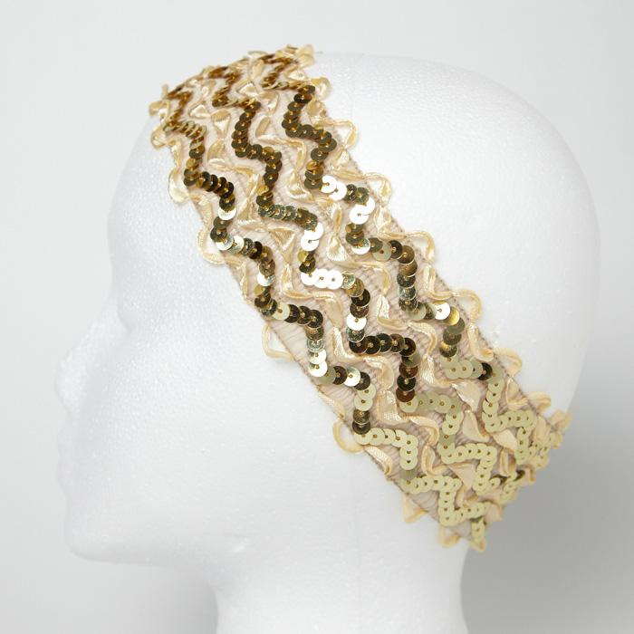 "2 3/4"" Sequin Ruffle Ribbon Stretch Headband Gold"