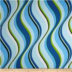 Waverly Fluid Curves Stripe Twill Peacock Fabric