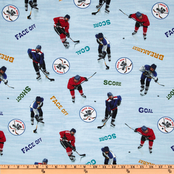 INOpets.com Anything for Pets Parents & Their Pets Sports Collection Hockey Blue Fabric