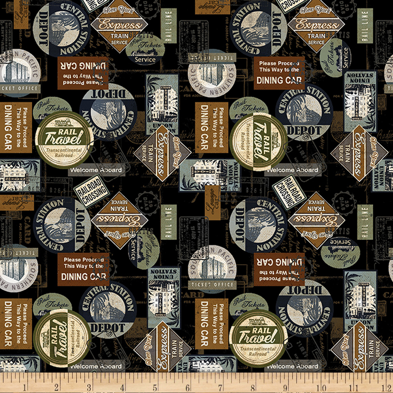Vintage Inspired Halloween Costumes Kanvas Railway Express Station Stamps Black Fabric $9.48 AT vintagedancer.com
