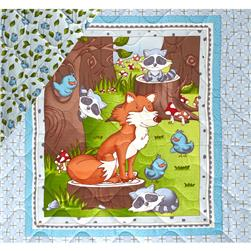 Mr. Fox & Friends Double Sided Quilted Baby Panel Multi