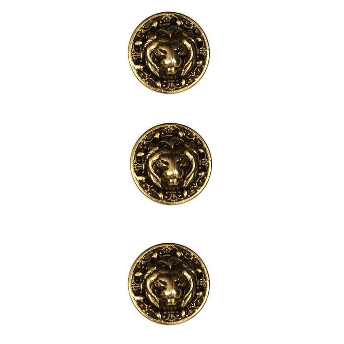 Metal Button 5/8'' Leo Antique Gold