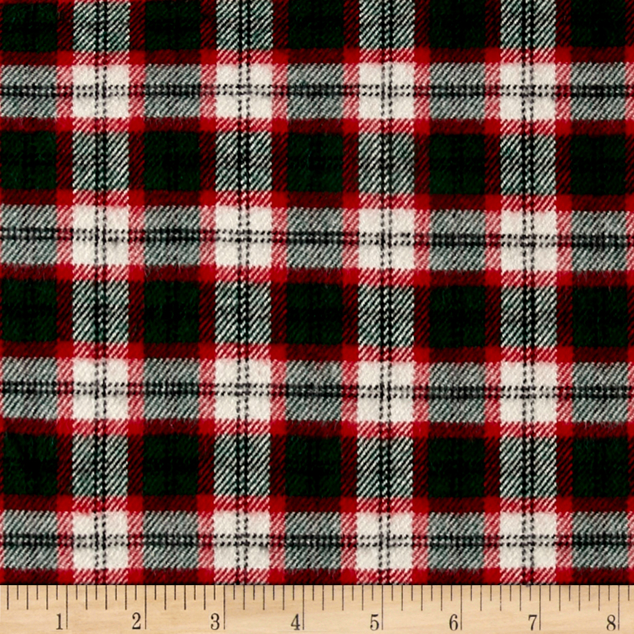 Primo Plaids Classics Flannel Tartan Red/White Fabric by Marcus in USA