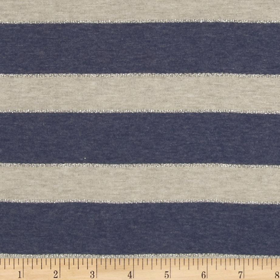 Stretch Yarn Dyed Jersey Knit Glitter Stripes Blue/Beige