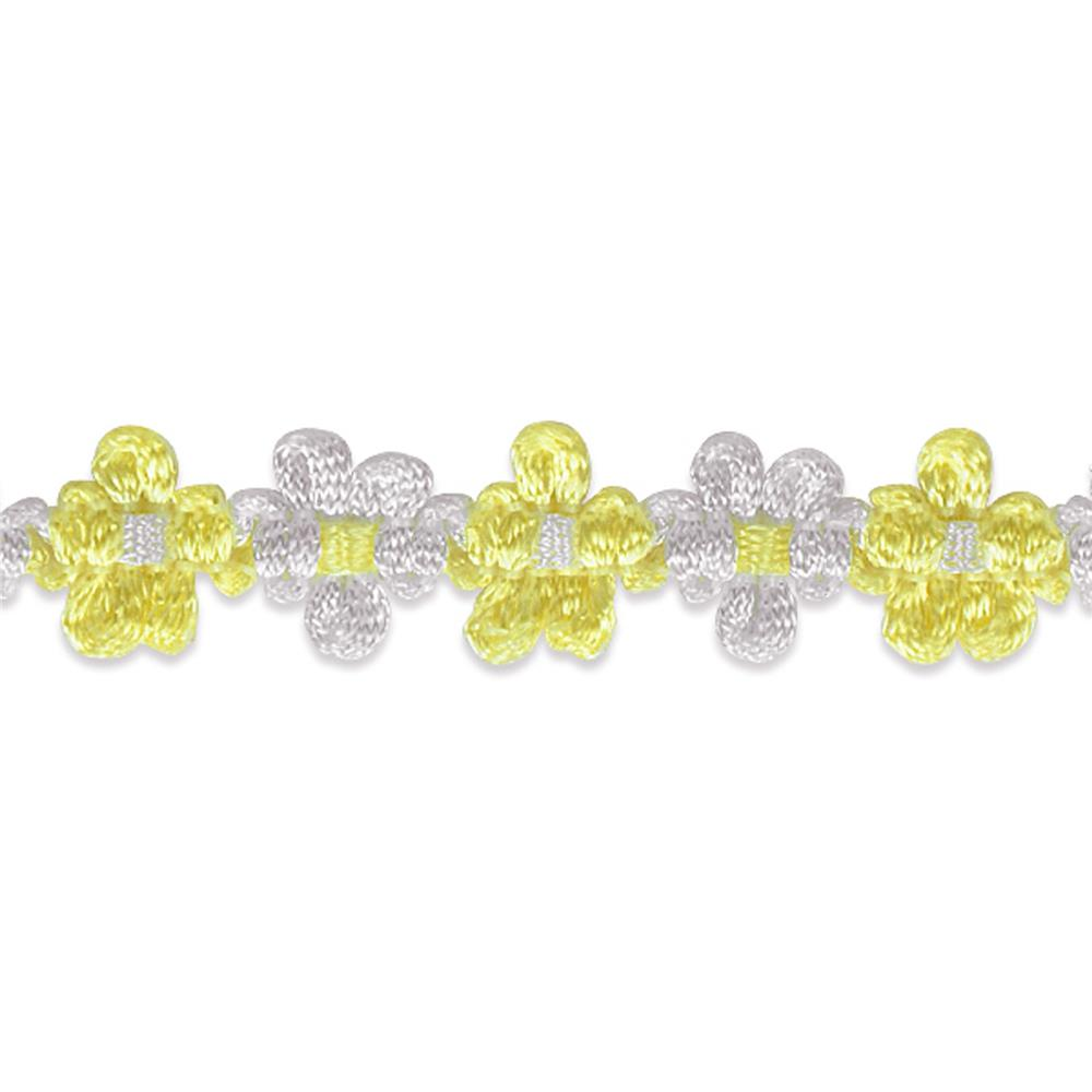"5/8"" Amy Woven Flower Trim Yellow"