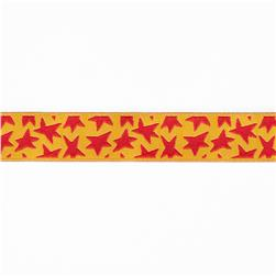 "5/8"" Luella Doss Red Stars On Gold Ribbon"