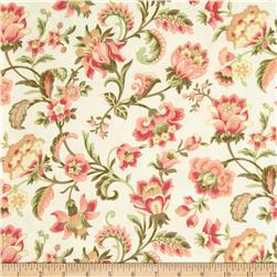 American Bouquet Flannel Large Floral Cream