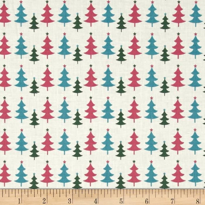 Fabric Freedom Christmas Character Little Trees Turquoise