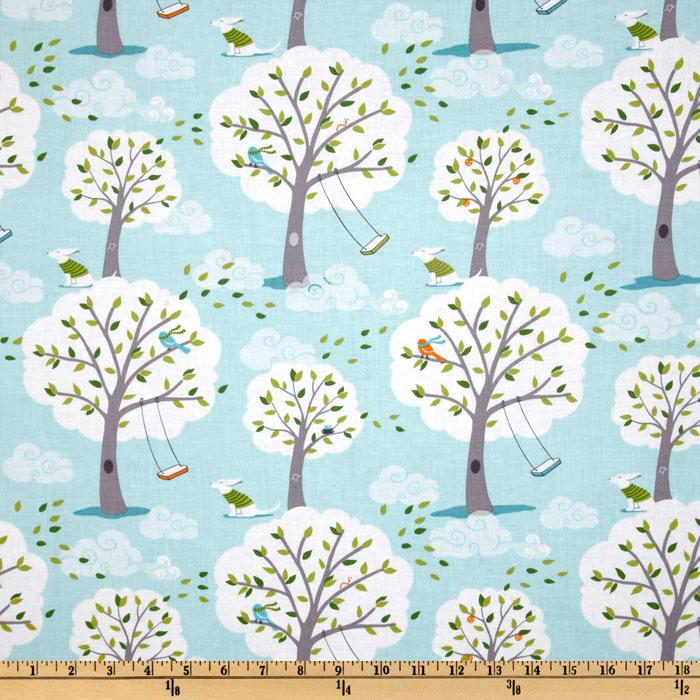 Michael miller backyard baby windy day aqua discount for Cheap baby fabric