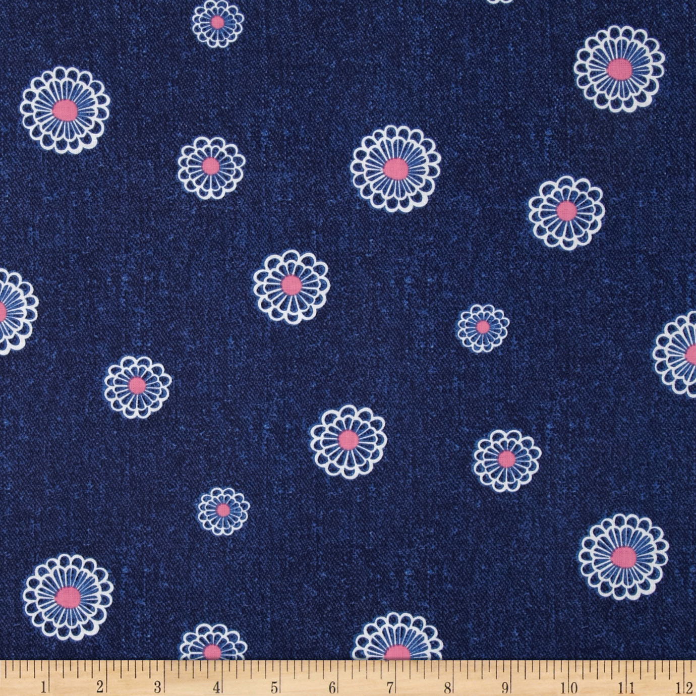 Kanvas Water Lily Denim Daisy Denim Fabric