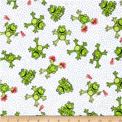 Comfy Flannel Cheering Frogs White