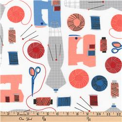 Kaufman Sew Dressed Up Collage Navy