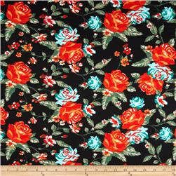 Stretch Ponte de Roma Floral Black/Orange