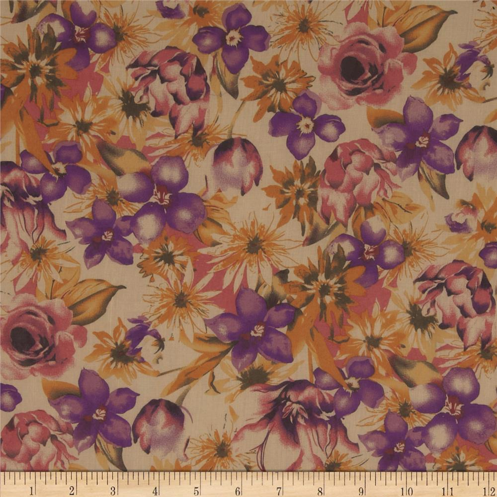 Cotton Lawn Floral Purple/Gold