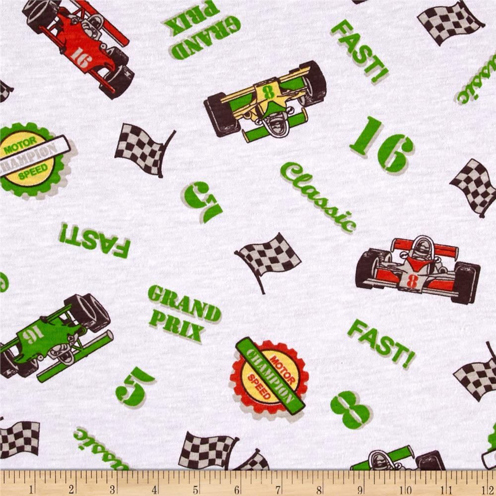 Cotton Blend Children's Jersey Knit Print Off to the Races Fabric By The Yard