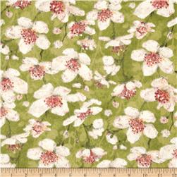 Velvet Blossoms Flannel Medium Floral Green