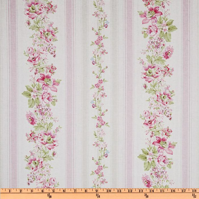Treasures by Shabby Chic Wildflowers Floral Stripes Pink