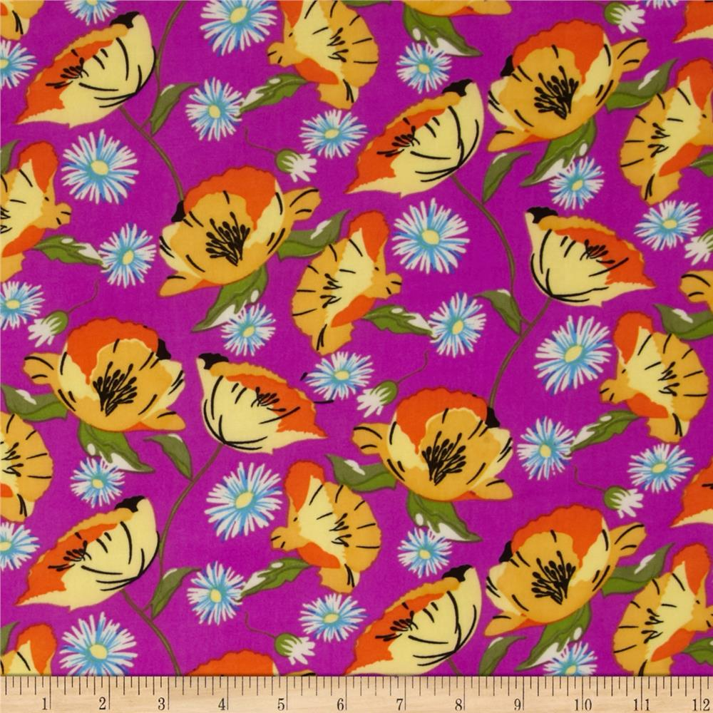 Stretch ITY Jersey Knit Floral Purple/Yellow/Orange