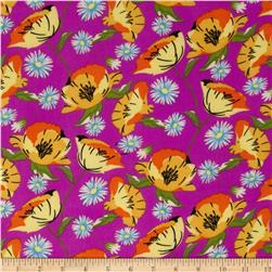 ITY Jersey Knit Floral Purple/Yellow/Orange