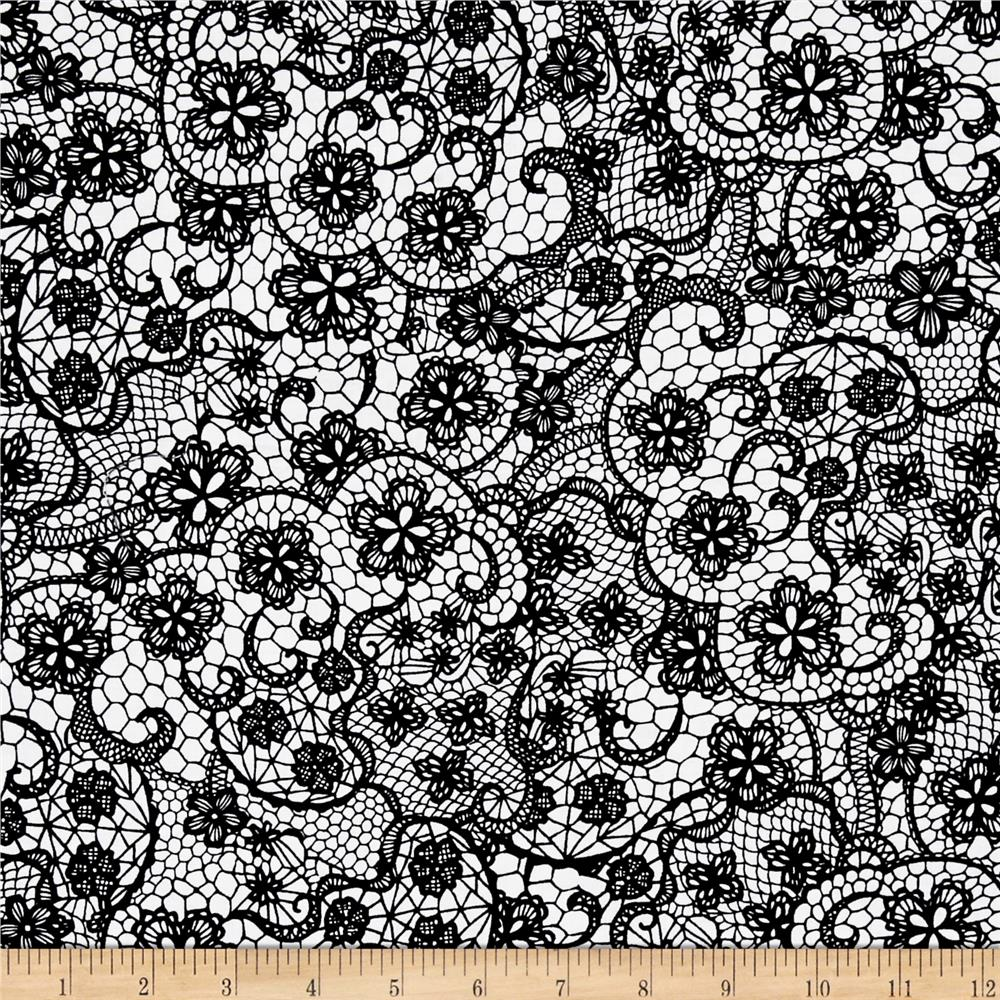 Odds And Ends Lace Black On White Fabric