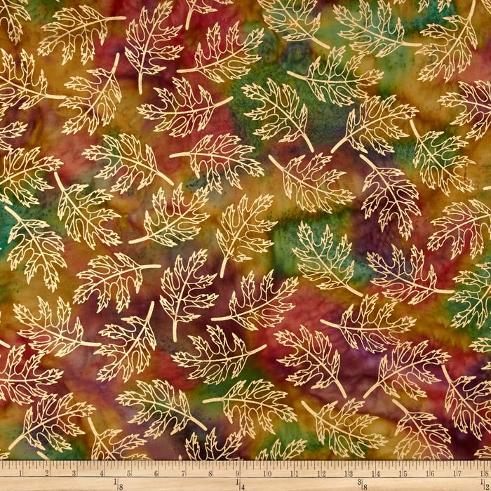 Indian Batik Harvest Large Leaf Metallic Coral