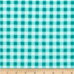 Zig Zag Zoo Flannel Gingham Turquoise/White